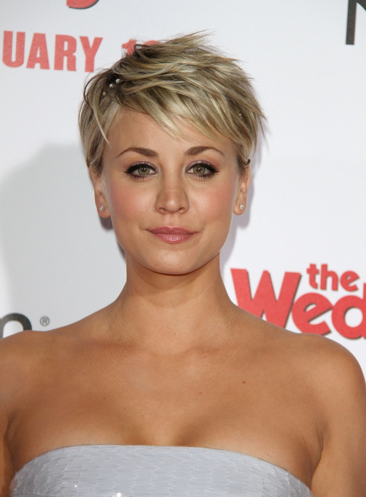 Kaley Cuoco Pixie Cut with Bangs