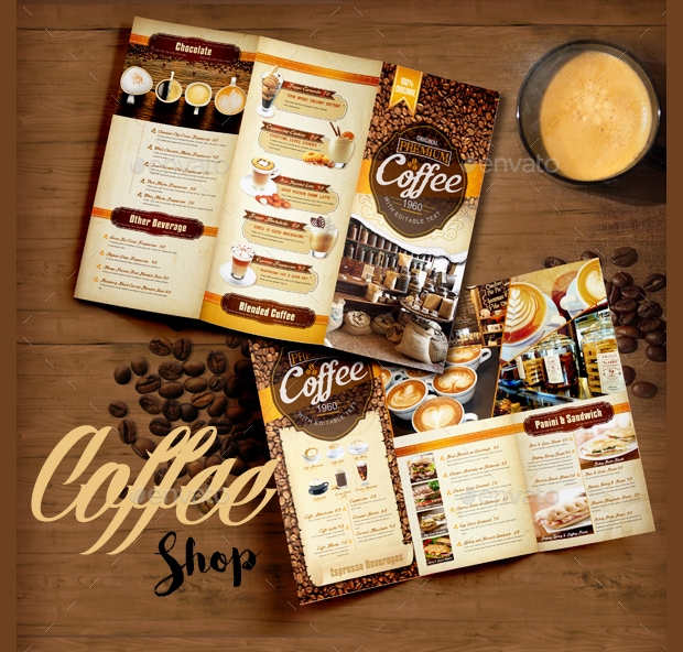 high quality coffee shop brochure