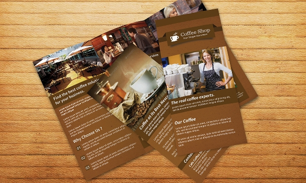 coffee shop restaurent trifold brochure
