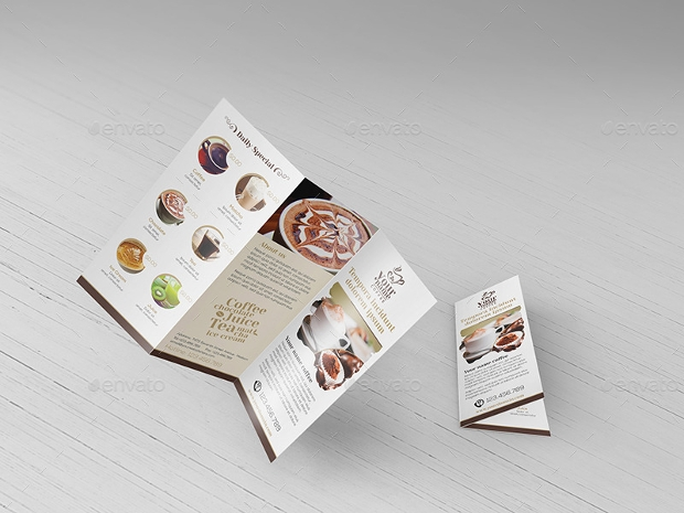tri fold coffee shop brochure