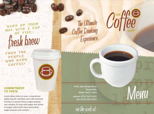 coffee shop take out brochure template