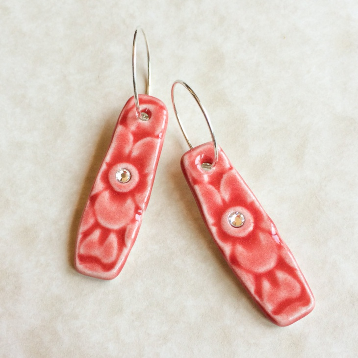 poppy ceramic earrings