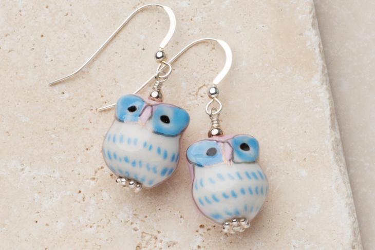 ceramic owl earrings