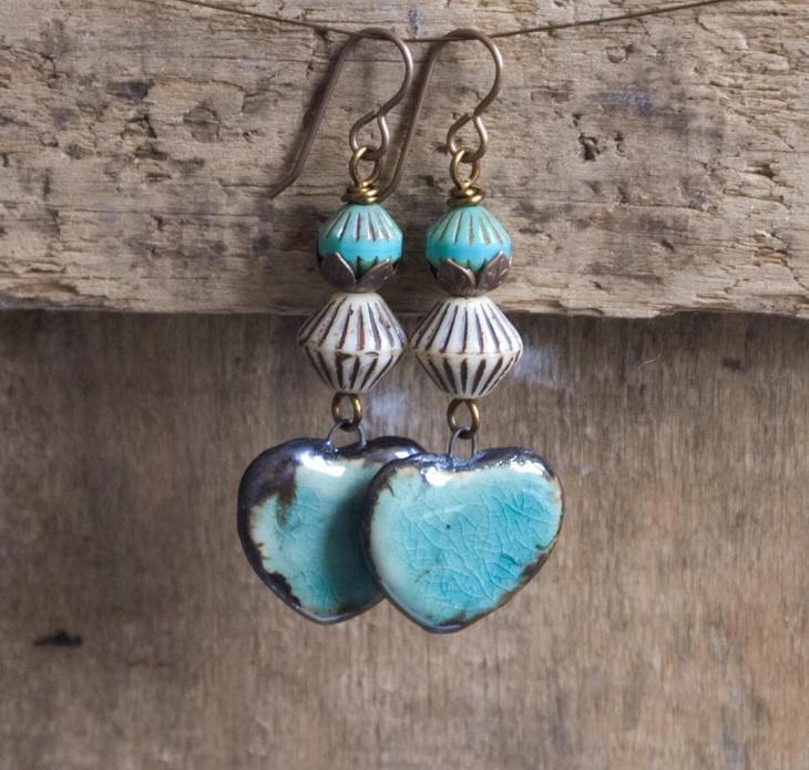heart drop ceramic earrings