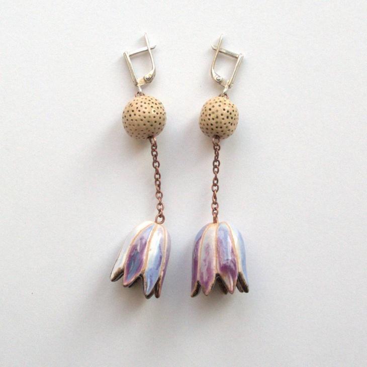 gorgeous ceramic flower earrings