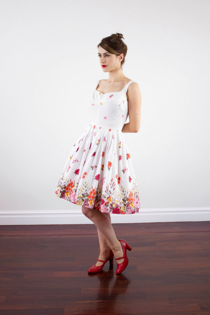 White Floral Poppy Dress