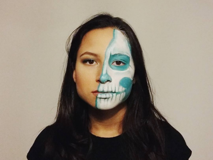 Half Face Skeleton Makeup