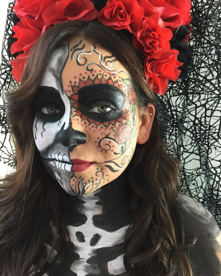 Red and Silver Skeleton Makeup