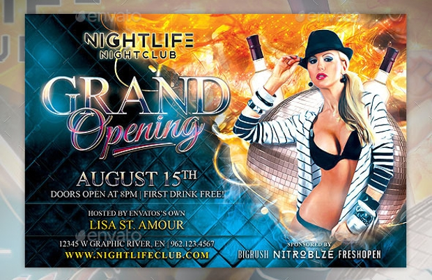 night club grand opening flyer