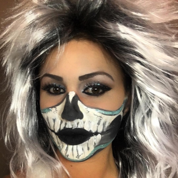 Skeleton Eye and Nose Makeup