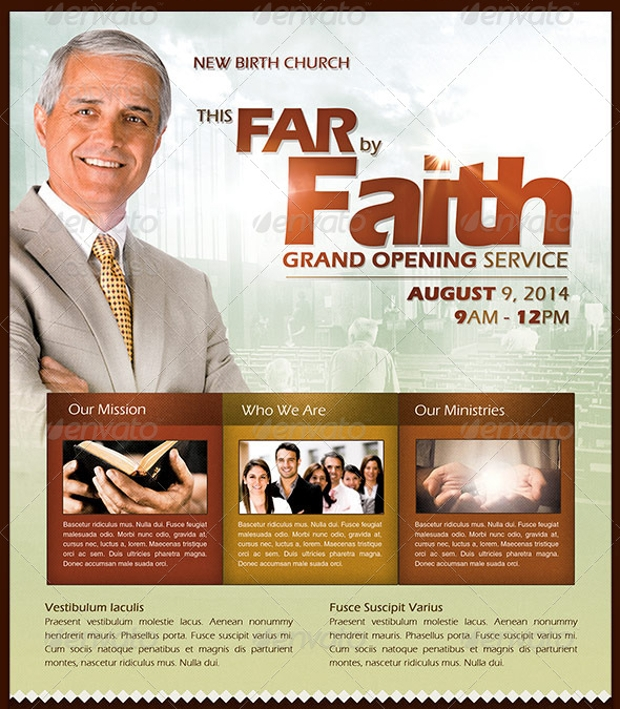 church grand opening flyer