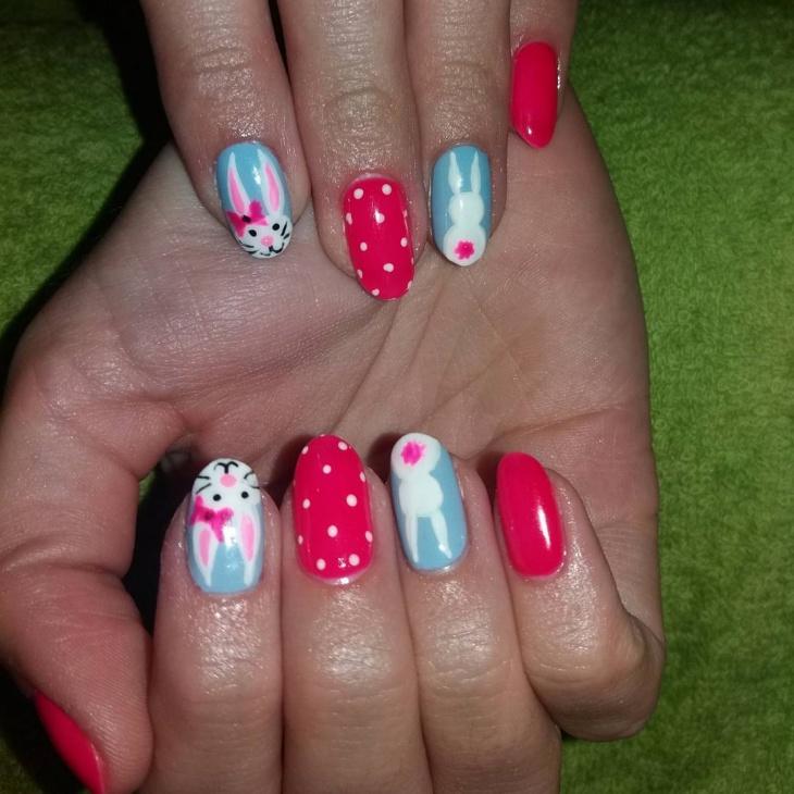 bunny acrylic nail art