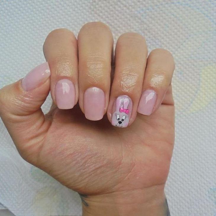 cartoon bunny nail art design