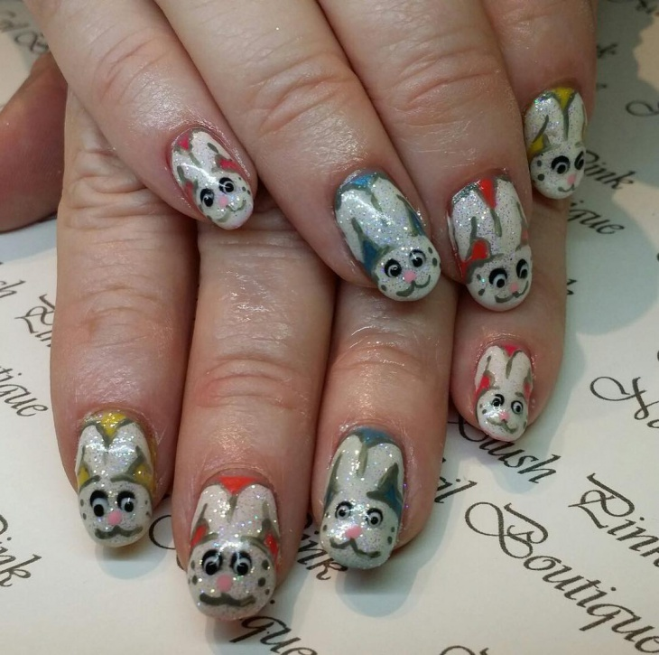 Glitter Bunny Nails Design