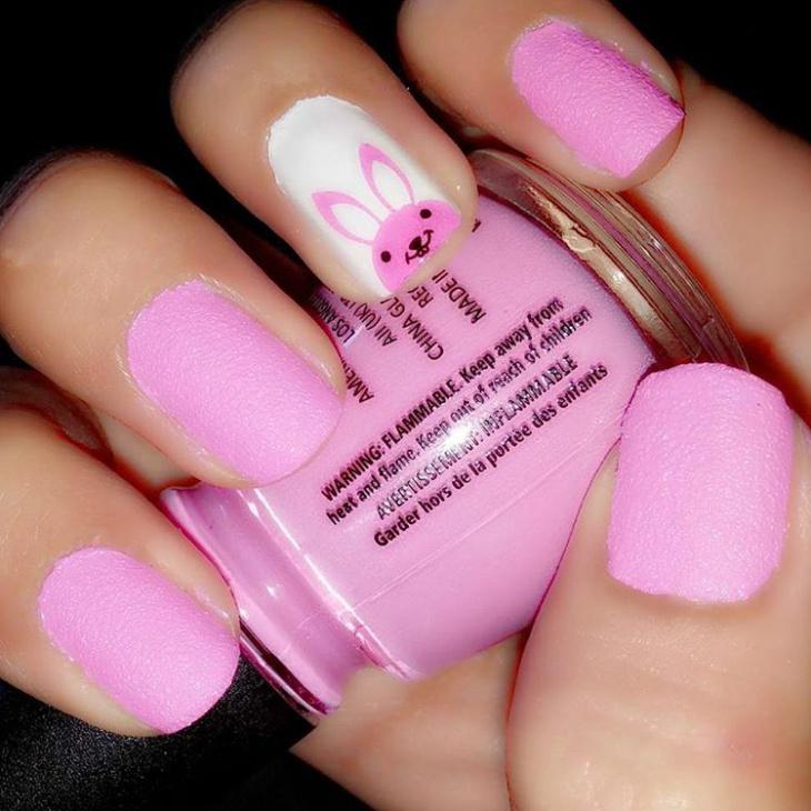 easy bunny nail art design