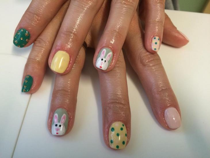 cute bunny nail art idea
