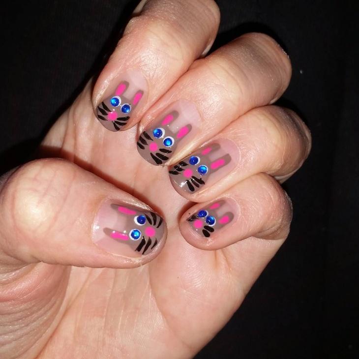 pretty bunny nails design