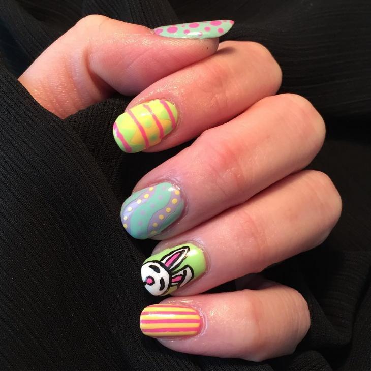 simple bunny nail art