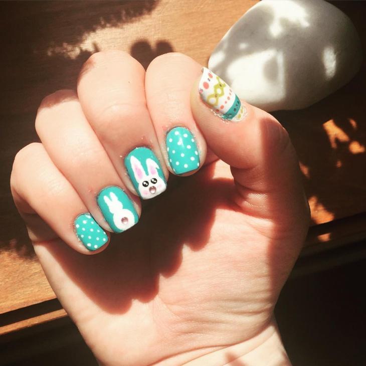 Polka Dot Bunny Nails
