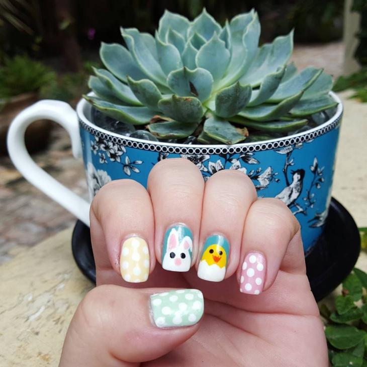 Pastel Bunny Nail Art
