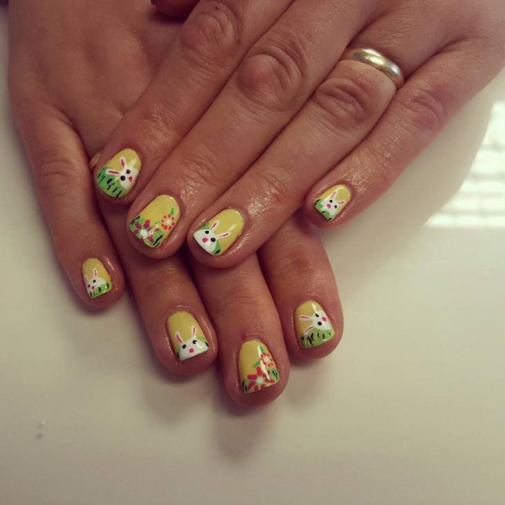 yellow and green bunny nails