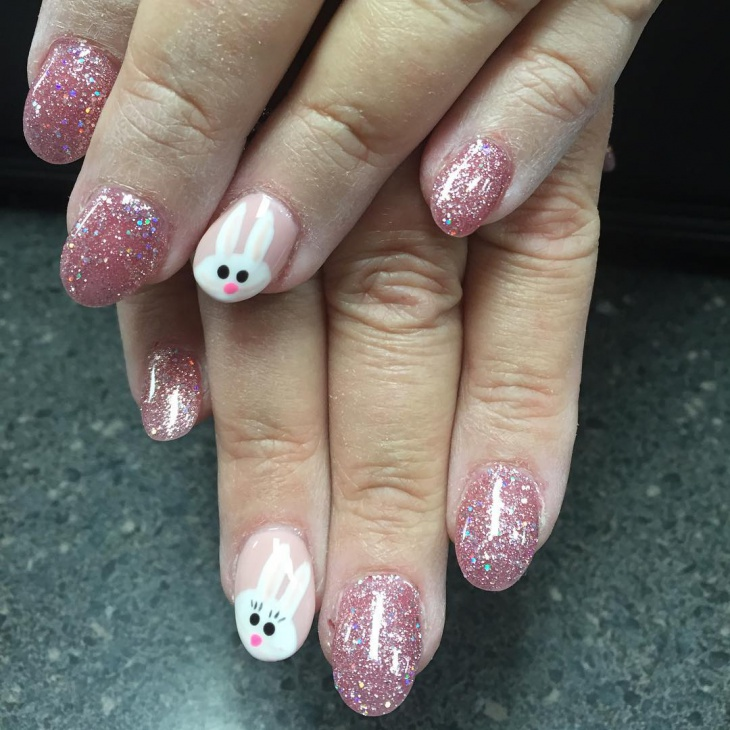 cool bunny glitter nails
