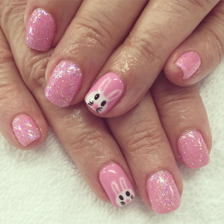 pink color bunny nails