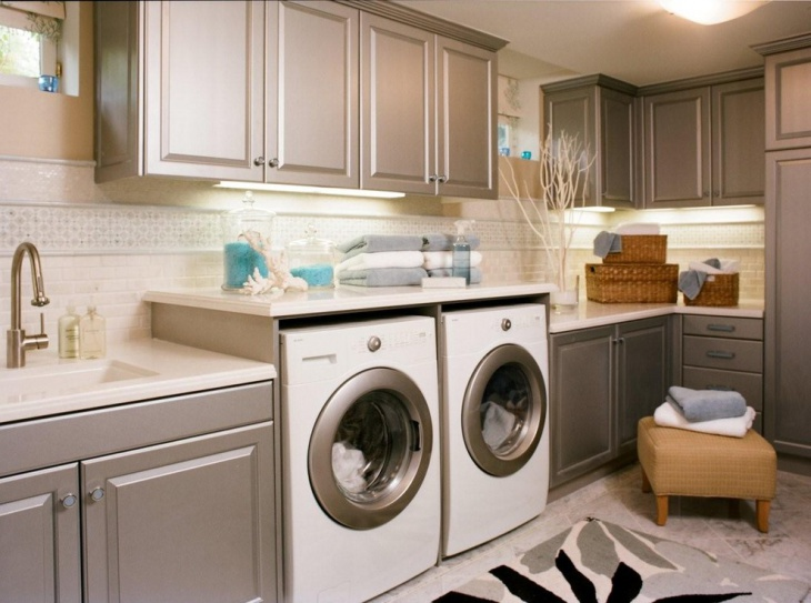 utility room with gray cabinet design