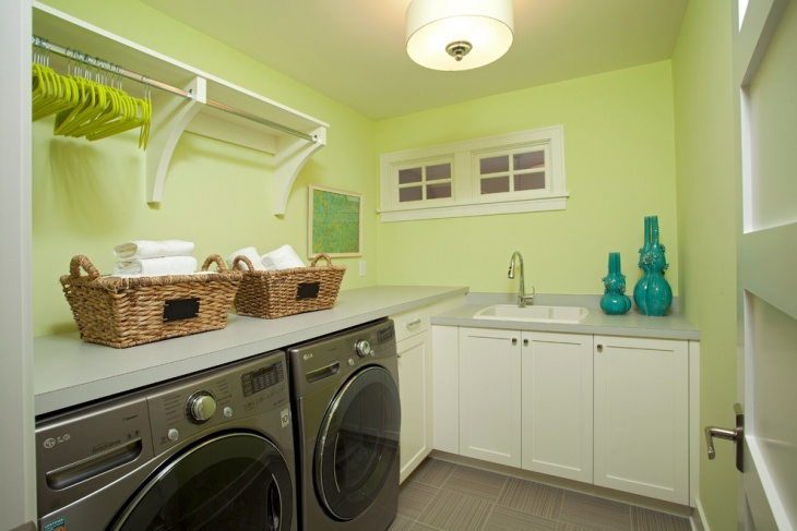 light Green wall Utility Room