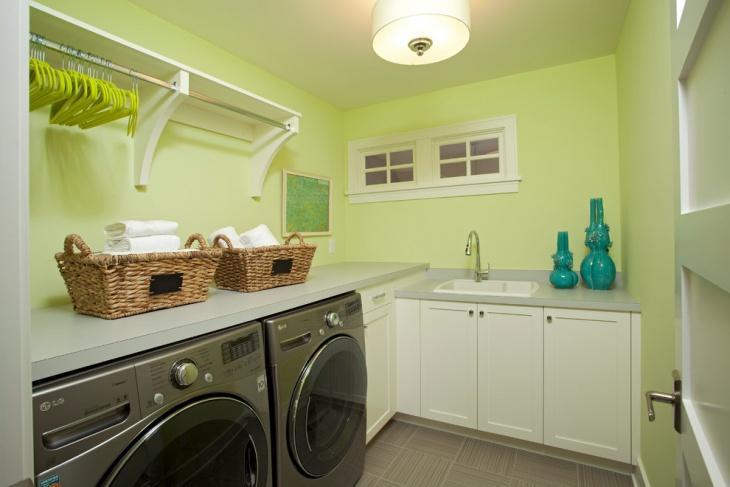 light green wall utility room