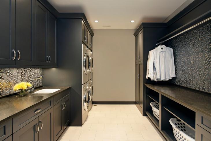 black utility room cabinet