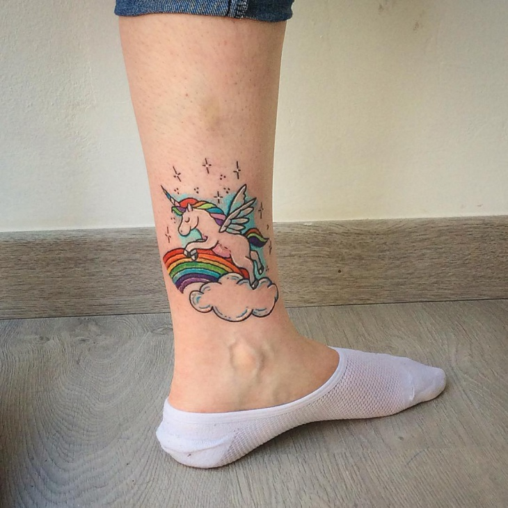 Unicorn Ankle Tattoo Idea