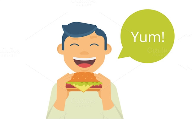 man eating hamburger vector character