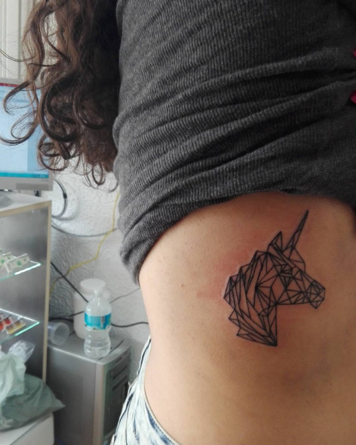 Geometric Unicorn Tattoo Design