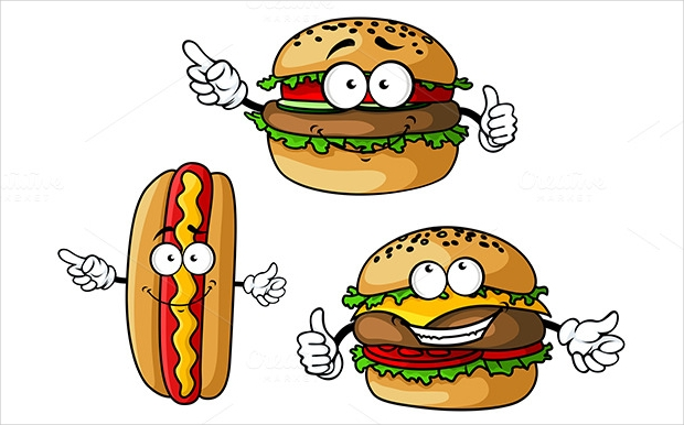 hotdog and burger on white background