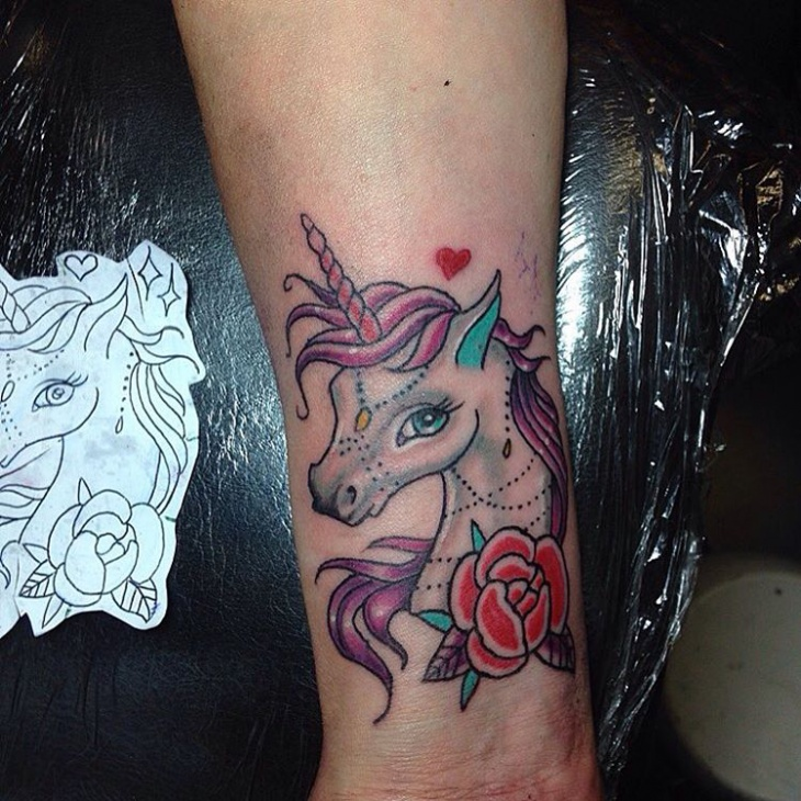 Rose Unicorn Tattoo