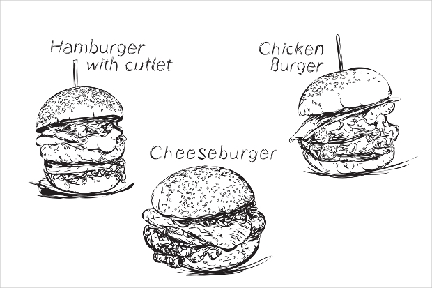 hand drawn burger vector
