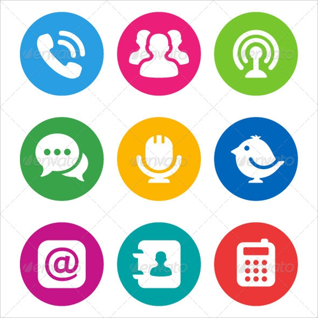 Circular Communication Icons