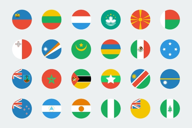 Flat Circular World Flag Icons