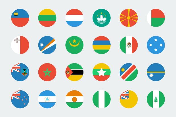 flat circular world flag icons