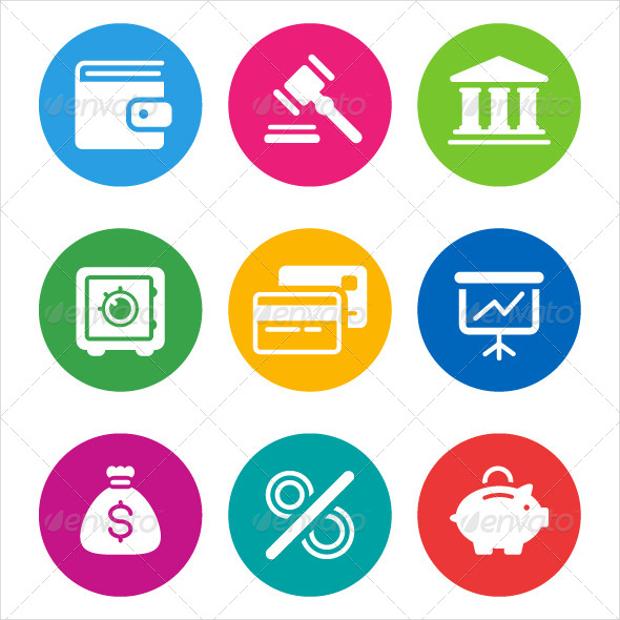 circular finance icons