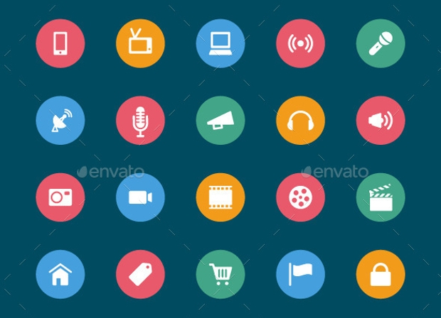 Circular Web and Mobile Icons