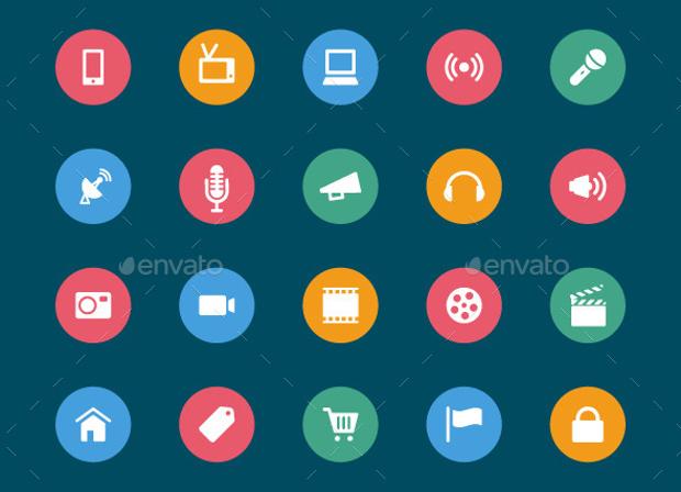 circular web and mobile icons
