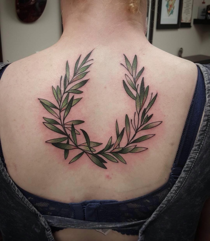olive wreath tattoo design
