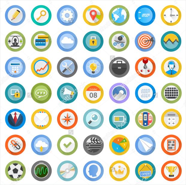 flat circular icon set