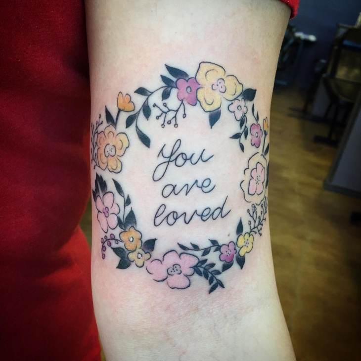 Colorful Wreath Tattoo Design