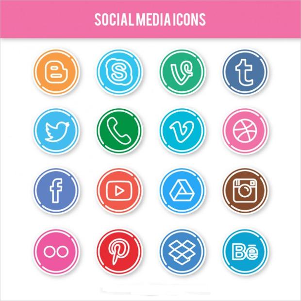 circular social networking icon collection