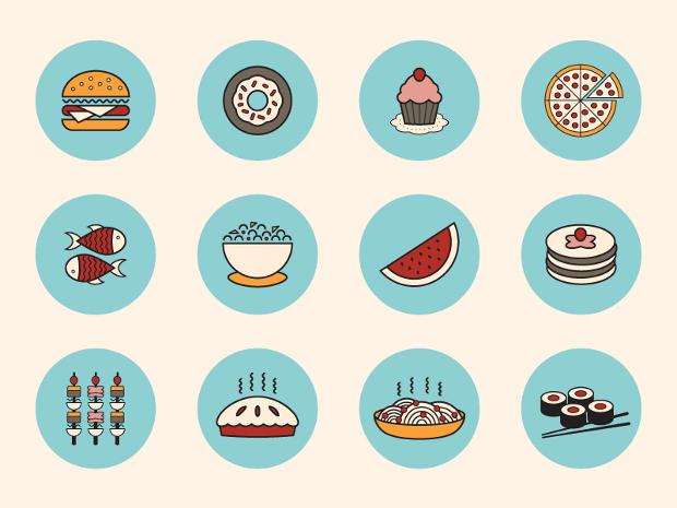 circular food icons