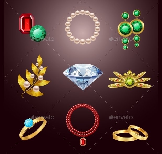 realistic jewelry icons