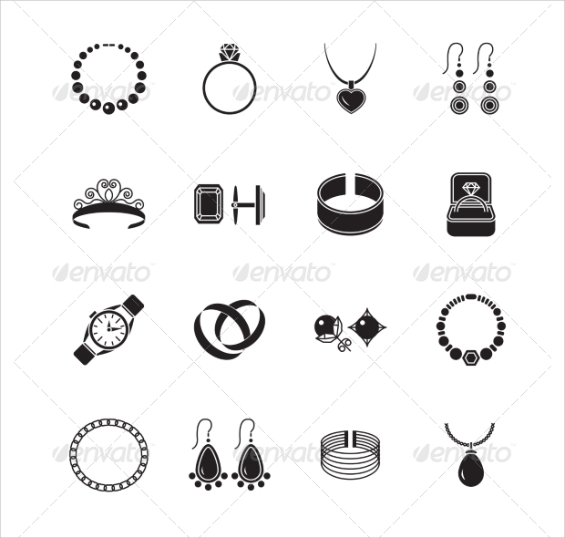 jewelry black icons